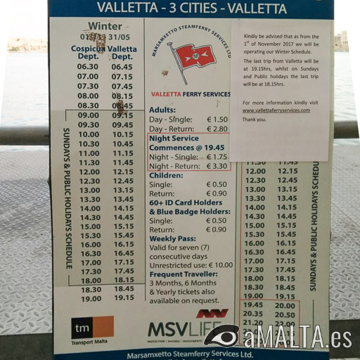 Horario del Ferry de Valeta a las Tres Ciudades