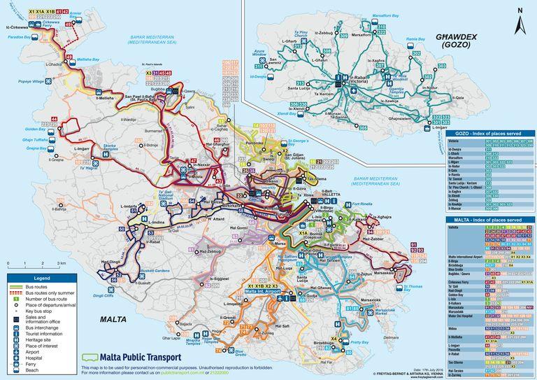 Mapa de las rutas de autobuses en Malta